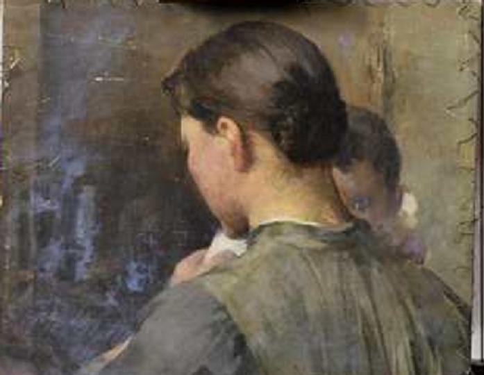 Raaseporin maiseman alta paljastunut tuntematon teos, jossa äiti ja lapsi, mestarillinen teos sekin.
